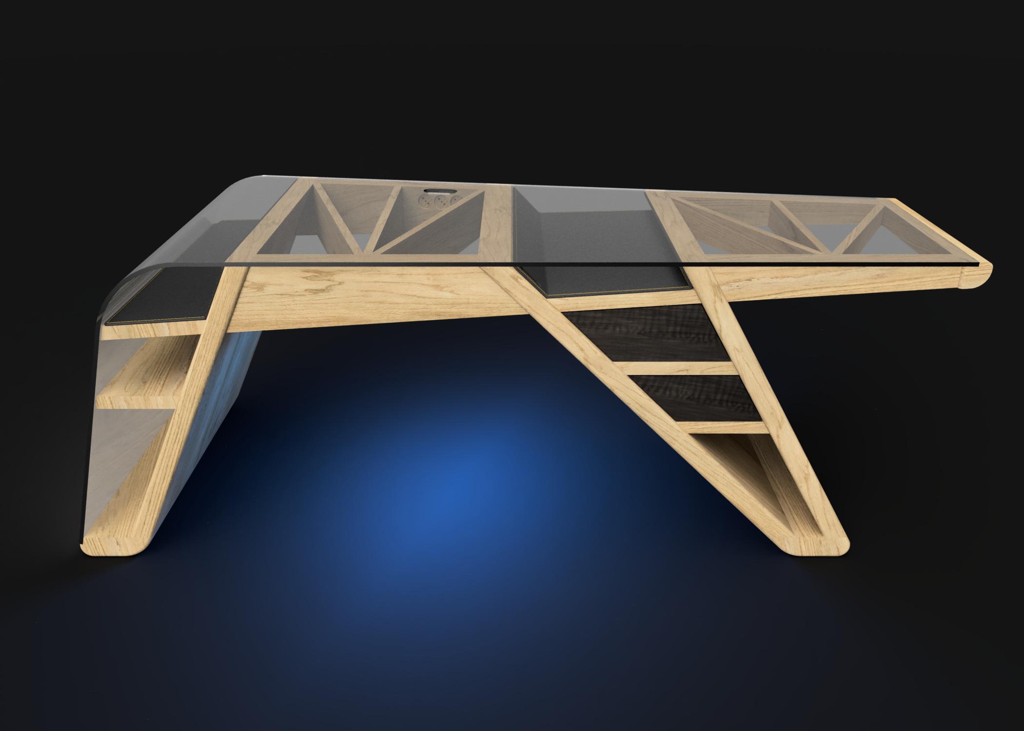 Mesa despacho Corsair luz azul