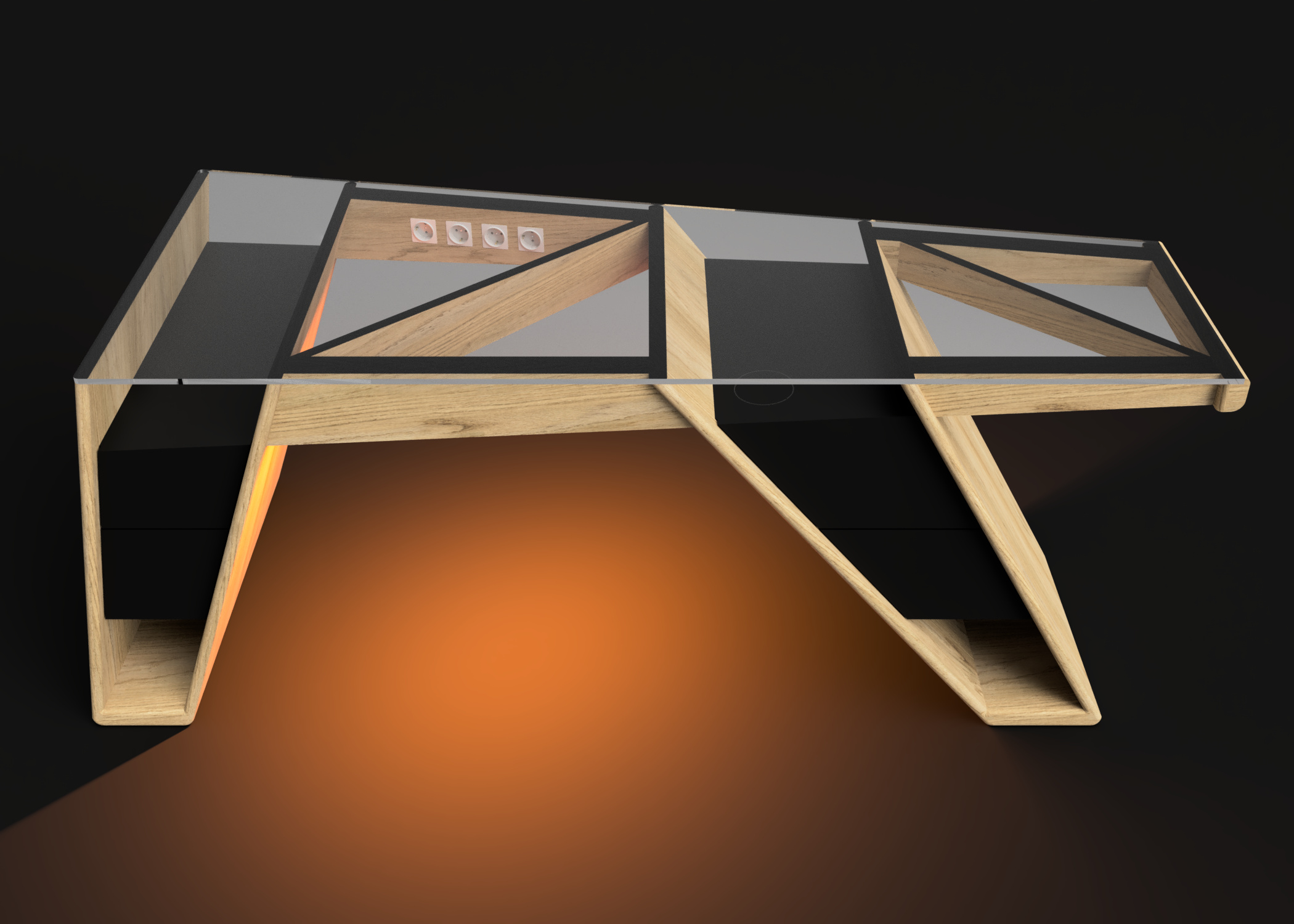 Mesa modelo Klemm luz naranja